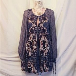 Free People Blue Billowy Sleeve Empire Tunic Small